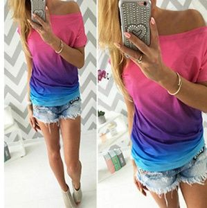 👕Women's ombre off-the-shoulder silky-like tee